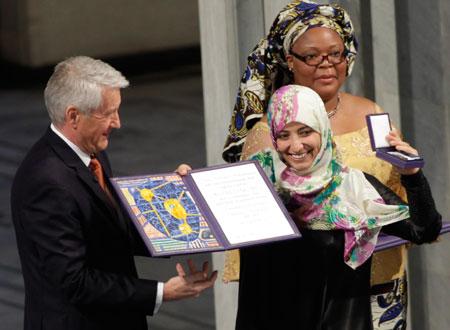 توكل كرمان تتسلم نوبل للسلام