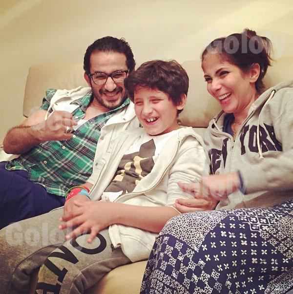 صور مني زكي واحمد حلمي في منزل انغام مع اولادهم و فسيخ ورنجة احتفالا بشم النسيم 2015