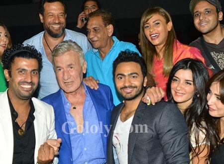 تامر حسني وغادة عادل يحتفلان بـالعرض الخاص لفيلم أهواك شاهد