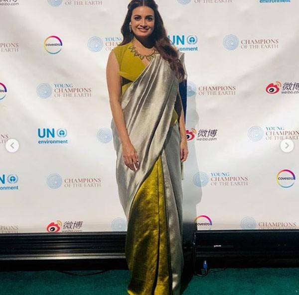 صور.. ديا ميرزا بالساري الهندي في الأمم المتحدة
