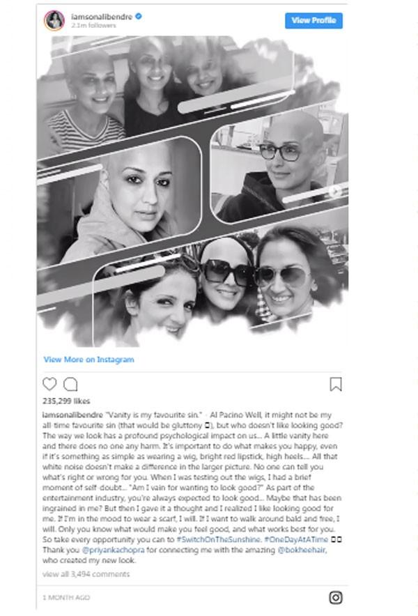 سونالي بندر في رسالة تحفيزية من داخل معركتها مع السرطان.. صور
