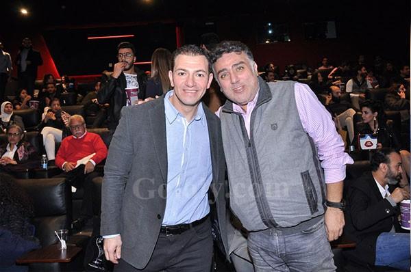 احمد الفيشاوي وزوجته في العرض الخاص لفيلم 122