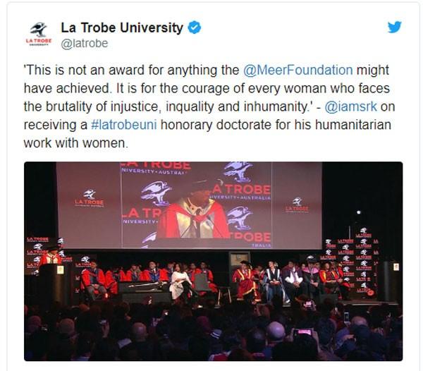 شاروخان يحصل على درجة الدكتوراه من جامعة «لا تروب»