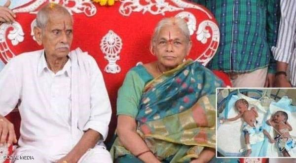 عجوز هندية تضع توأما