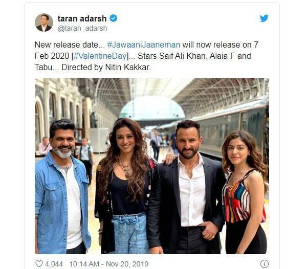 تأجيل إطلاق «جوانياني جانمان» للنجم سيف علي خان