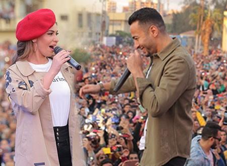 حمادة هلال يتألق في حفل جامعة المنصورة.. وتكريم خاص لمي سليم.. صور