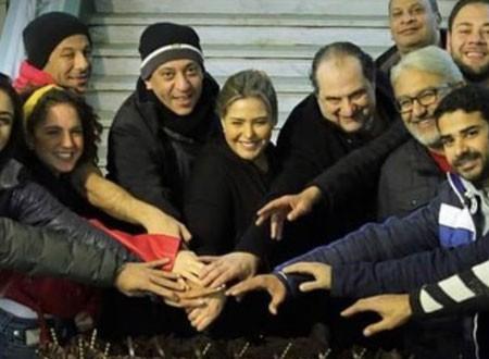 خالد الصاوي وصابرين يحتفلان ببدء تصوير مسلسلهما الجديد «ليالينا».. صور